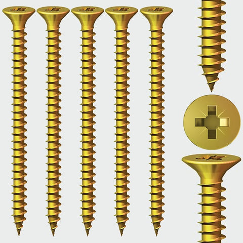 3.5mm Solo Woodscrews Countersunk-Yellow Zinc Passivative
