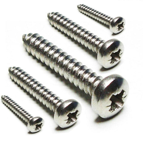 No. 10 Self Tapping Screw, Pan Pozi B, Stainless Steel A4 (316), Marine Grade, DIN 7891C