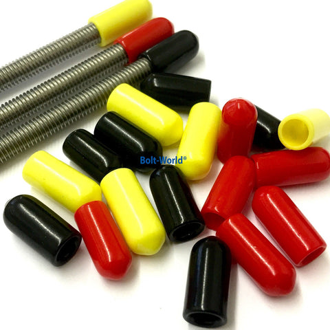M6 x 15mm, VIinyl Platic Thread Safety Cover Caps for Rod Bar Studding Stud
