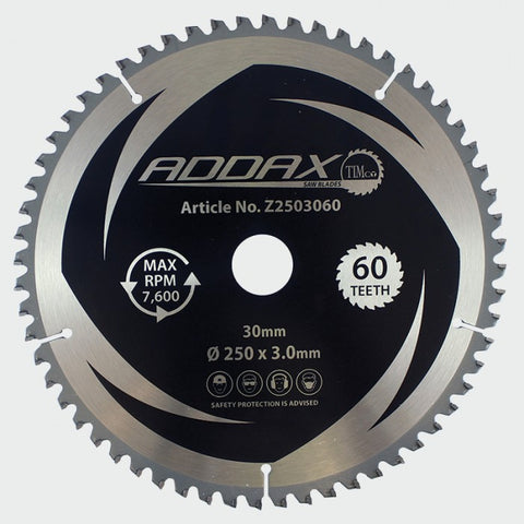 250 x 30 x 60T TCT Zero Degree Mitre Saw Blades