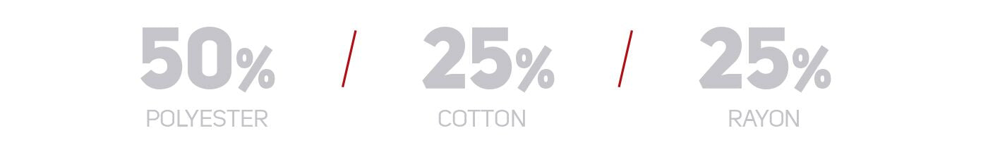 50% polyester, 25% cotton, 25% rayon