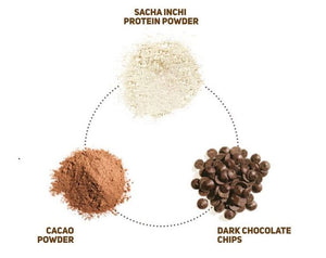 Image of ingredients in chocolate protein bar, including: sacha inchi protein powder, cacao powder and dark chocolate chips