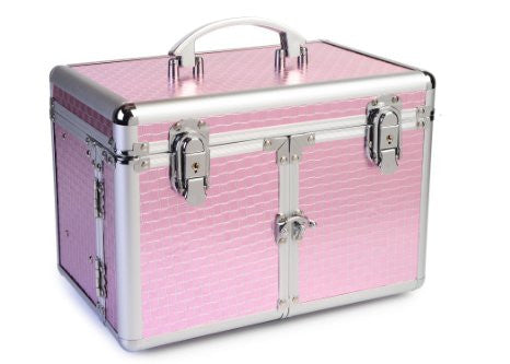 JUMBL™Pink Geometric Metallic Shimmer Cosmetic /  Jewelry Train Case