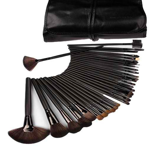 Inviktus Professional Cosmetic Makeup Brush Set Kit with black Synthetic Leather Case