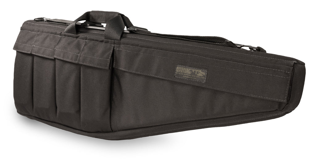 "Assault Systems Rifle Case, 28"", Black, Fits Steyr AUG, Mini 14 w/ folding stock and similar"