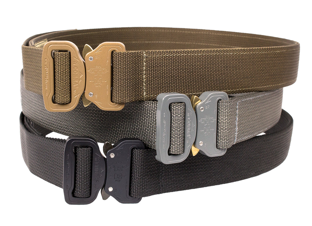 CO Shooters Belt with Cobra Buckle, Coyote, Large