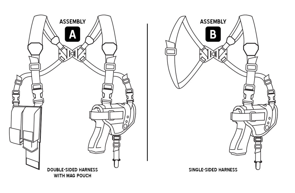 Modular/Ambidextrous Shoulder Holster System: Size 11 Vertical Holster, Dual Harness, Double Mag Pouch, and Tie-down