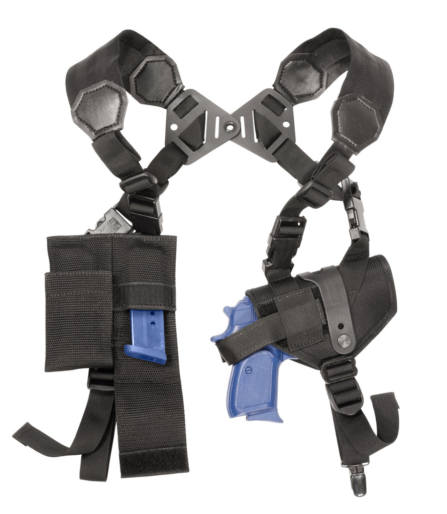 Modular/Ambidextrous Shoulder Holster System: Size 2 Horizontal Holster, Dual Harness, Double Mag Pouch, and Tie-down