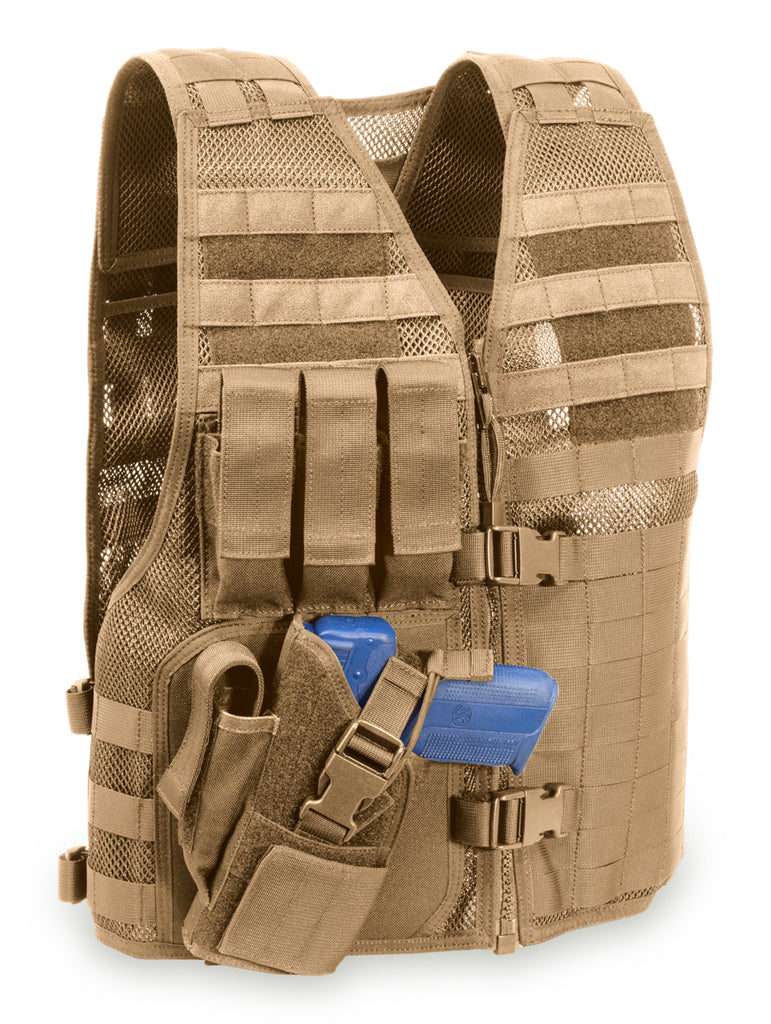 "MVP ""Director"" Tactical Holster Vest, Right hand holster, Coyote Tan"