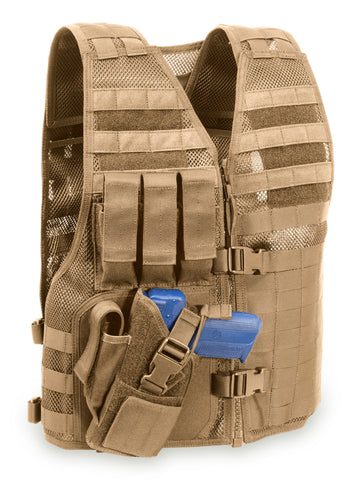 "MVP ""Director"" Tactical Holster Vest, Left hand holster, Coyote Tan"