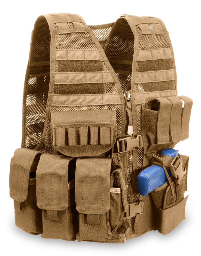 "MVP ""Commandant"" Tactical Holster Vest, Left hand holster, Coyote Tan"