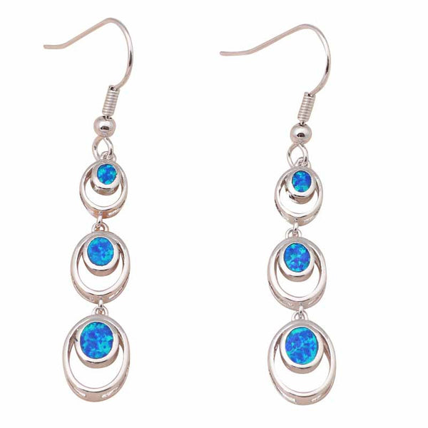 Blue Opal Circle Charm Earrings