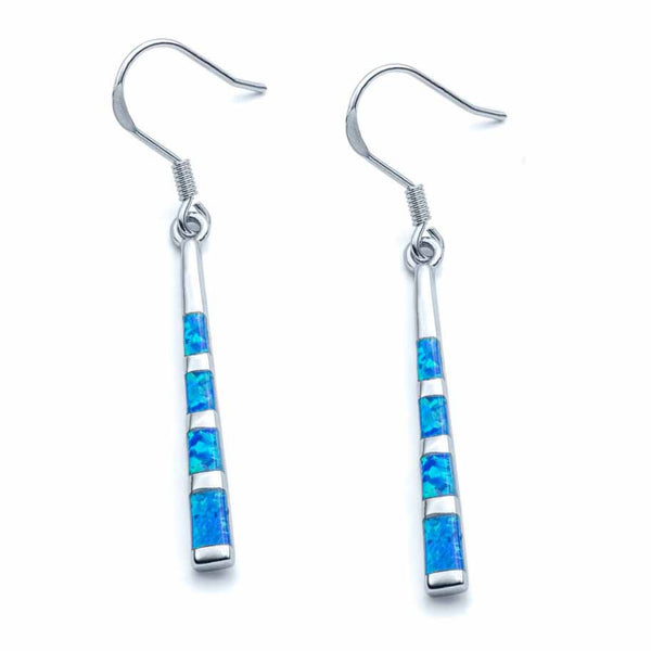 Blue Opal Inlay Rod Dangle Earrings