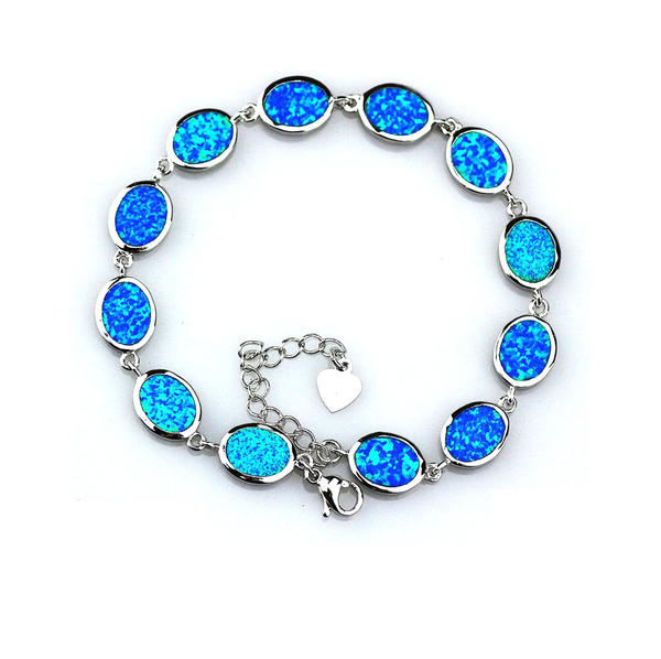 Blue Opal Oval Links Bracelet