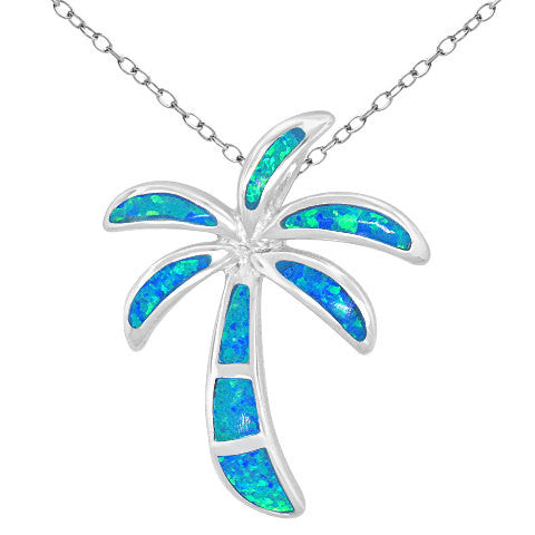 Blue Opal Palm Tree Necklace