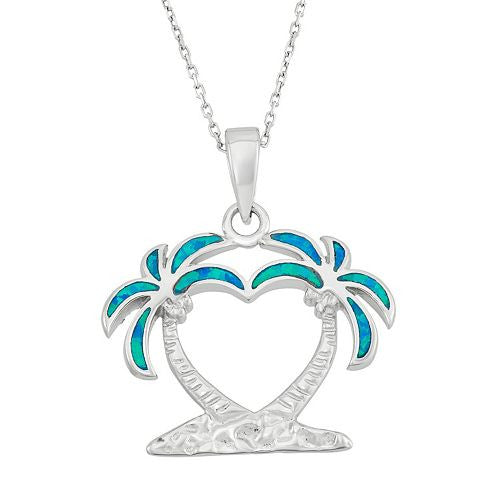 Blue Opal Twin Palm Tree Necklace