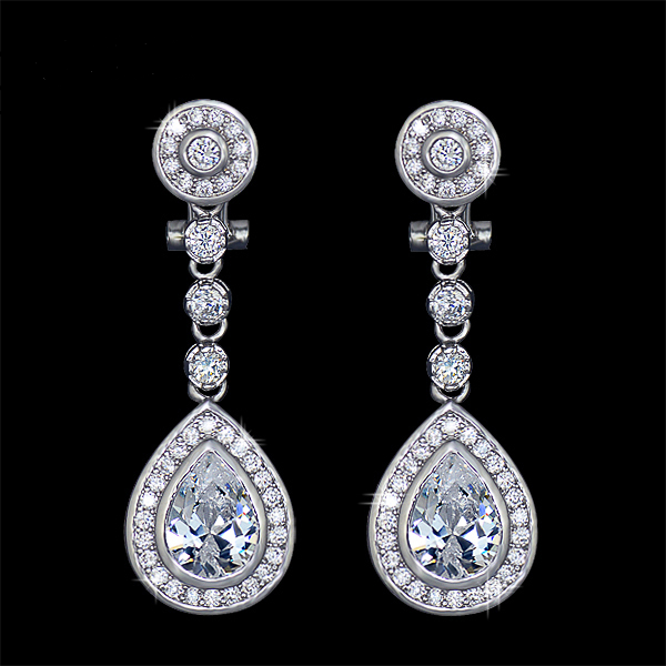 Cubic Zirconia Pear Teardrop Earrings
