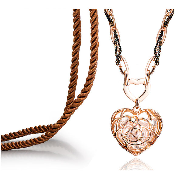 Crystal Filled Rose Gold Heart Necklace