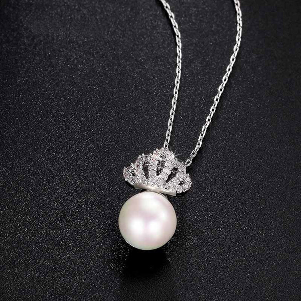 Pearl & Pavé Crown Necklace