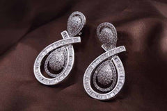 White Gold Sparkle Twist Earrings
