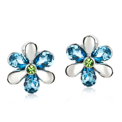 Flower Power Blue & Silver Stud Earrings