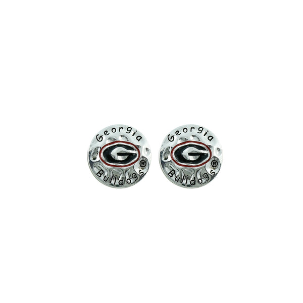Georgia Bulldogs Hammered Metal Crafted Earrings