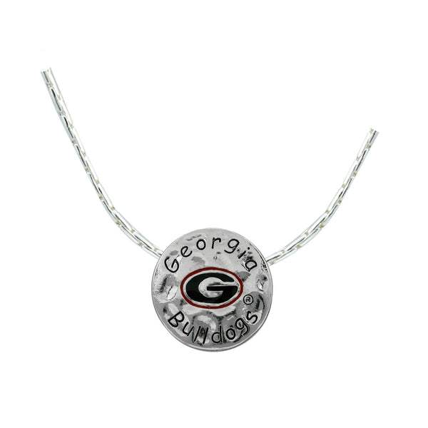 Georgia Bulldogs Hammered Metal Crafted Pendant Necklace
