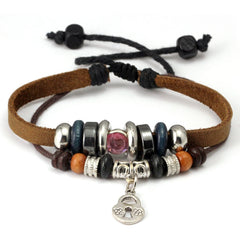 Leather & Bling Locket Charm Bracelet