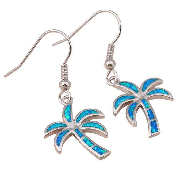 Blue Opal Palm Tree Earrings
