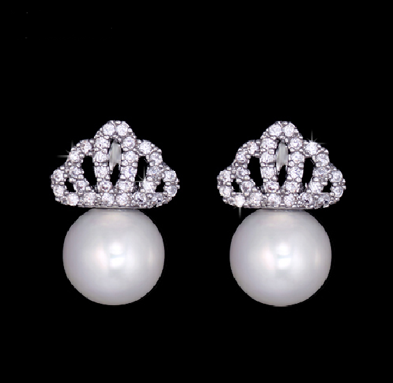 Pearl & Pavé Crown Earrings