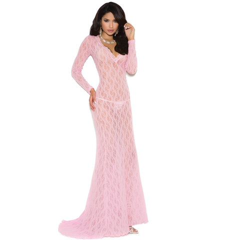 Pink Long Sleeve Lace Gown