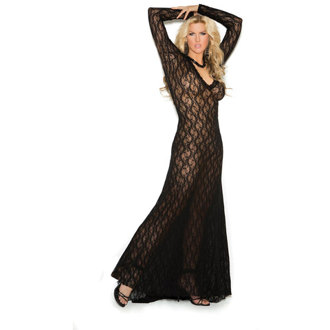 Plus Size Black Long Sleeve Lace Gown