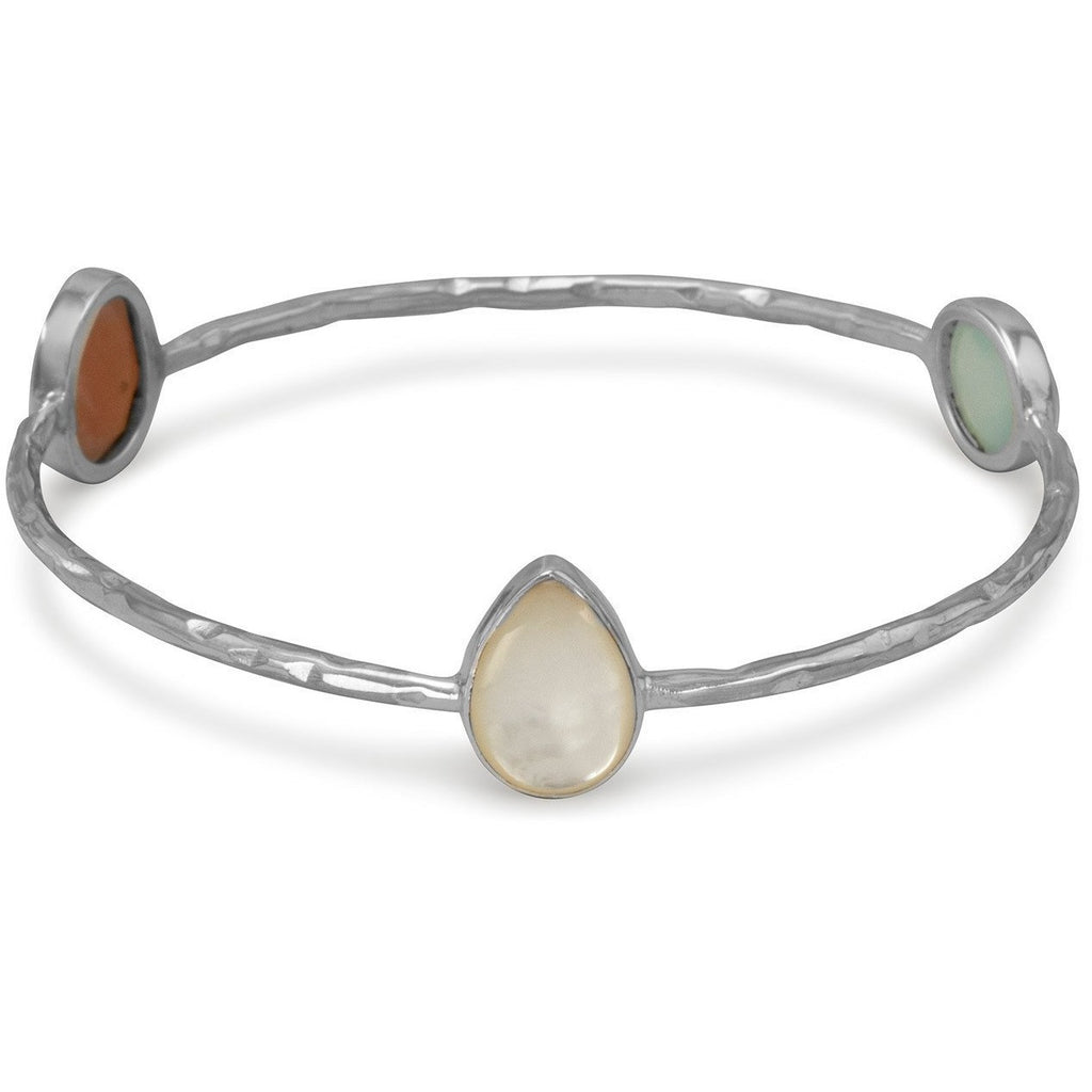 Multistone Hammered Bangle Bracelet
