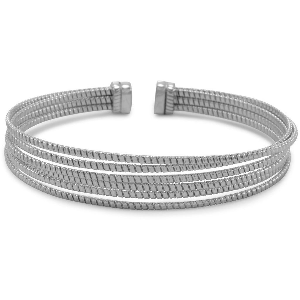 Rhodium Plated 6 Row Cuff Bracelet