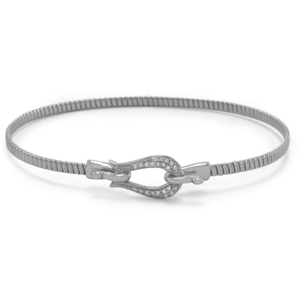 Rhodium Plated CZ Horseshoe Hook Bangle
