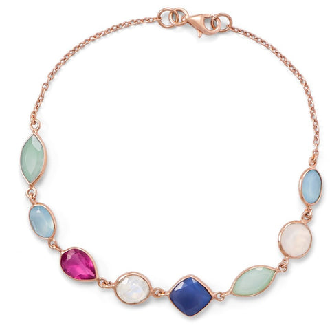 Rose Gold Plated Silver Multi Gemstone Bracelet