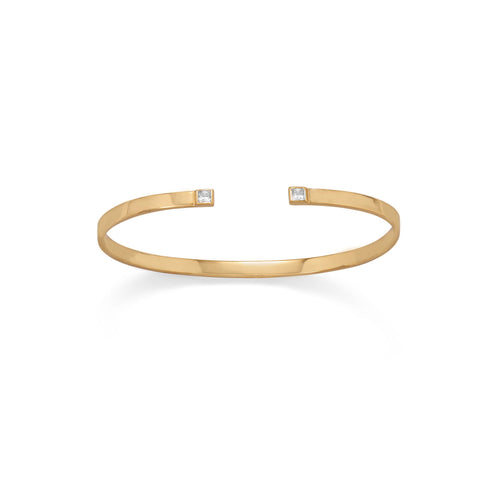 Gold Plated CZ Thin Cuff Bracelet