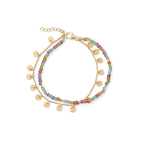 Two Strand, Multi Stone Gold Plated Bracelet