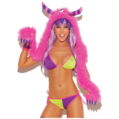 Neon Pink Furry Monster Hood