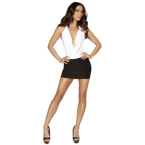 Black and White Low Cowl Neck Mini Dress w/ Scrunched Skirt - Charmed Costumes