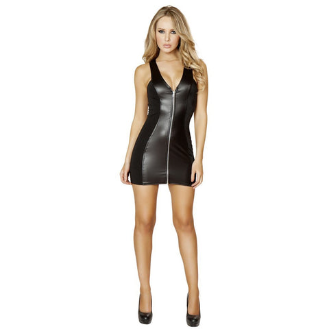 Black Mini Dress w/ Full Zip up Front - Charmed Costumes