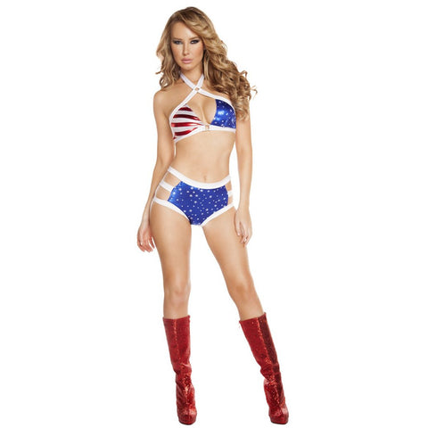 US Flag Bikini Set with Criss Cross Top