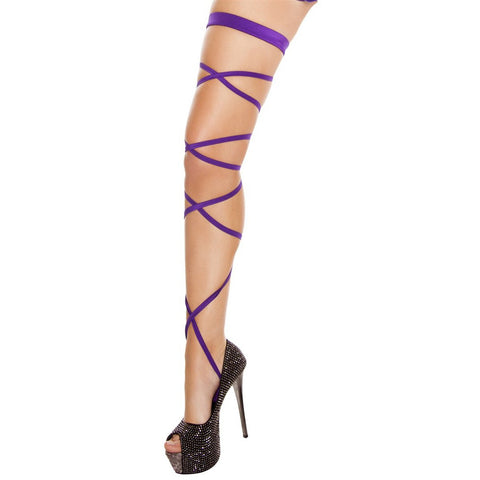 "100"" Solid Leg Strap w/ Attached Garter Purple - Charmed Costumes"