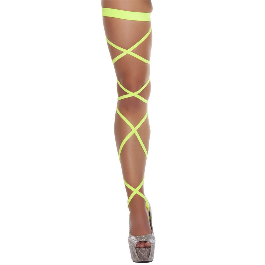 "100"" Solid Leg Strap w/ Attached Garter Yellow - Charmed Costumes"
