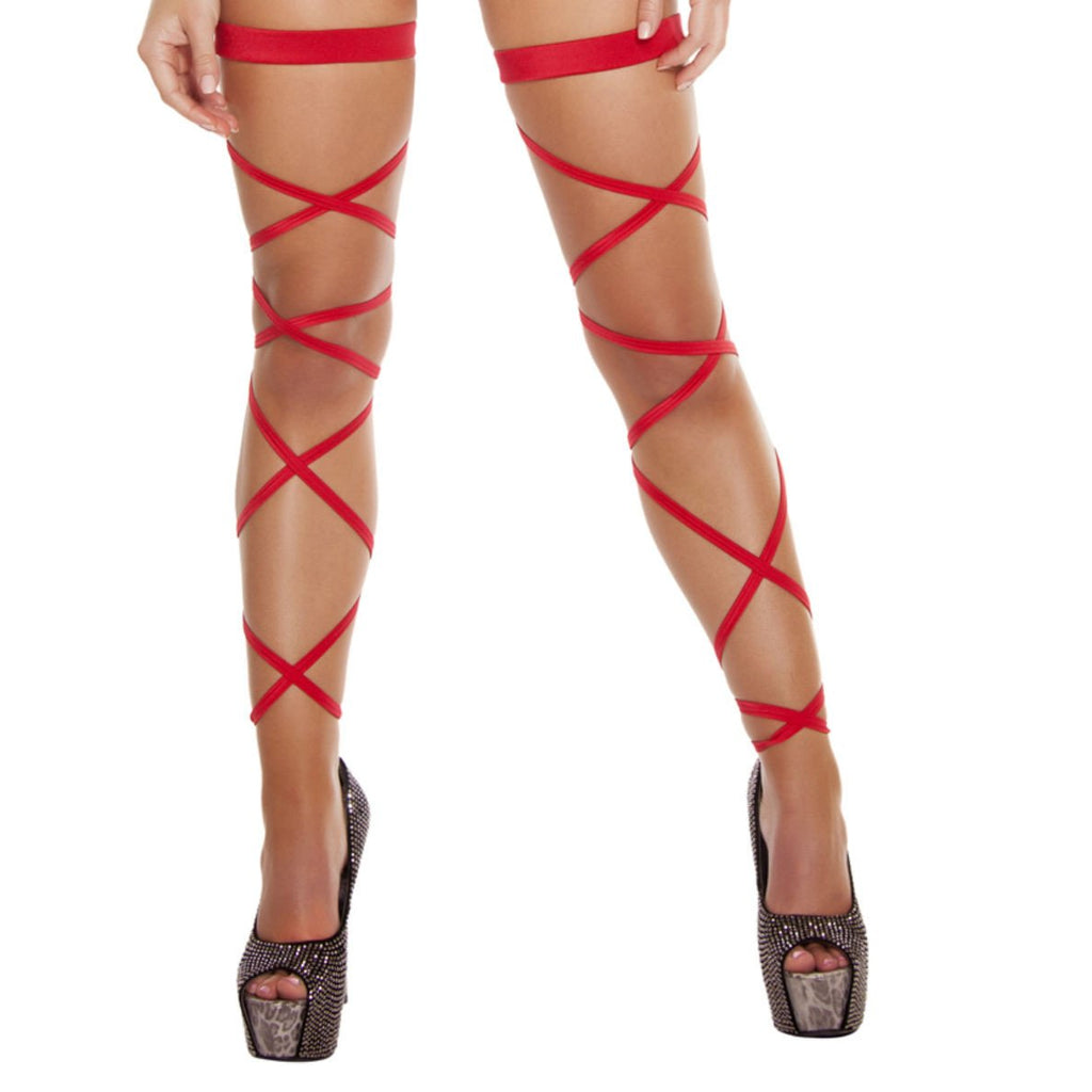 "100"" Solid Leg Strap w/ Attached Garter Red - Charmed Costumes"
