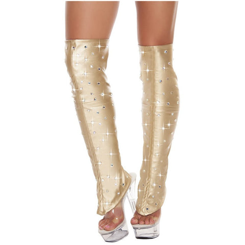 Gold Leatherette Leg Warmer w/ Rhinestone Detail - Charmed Costumes