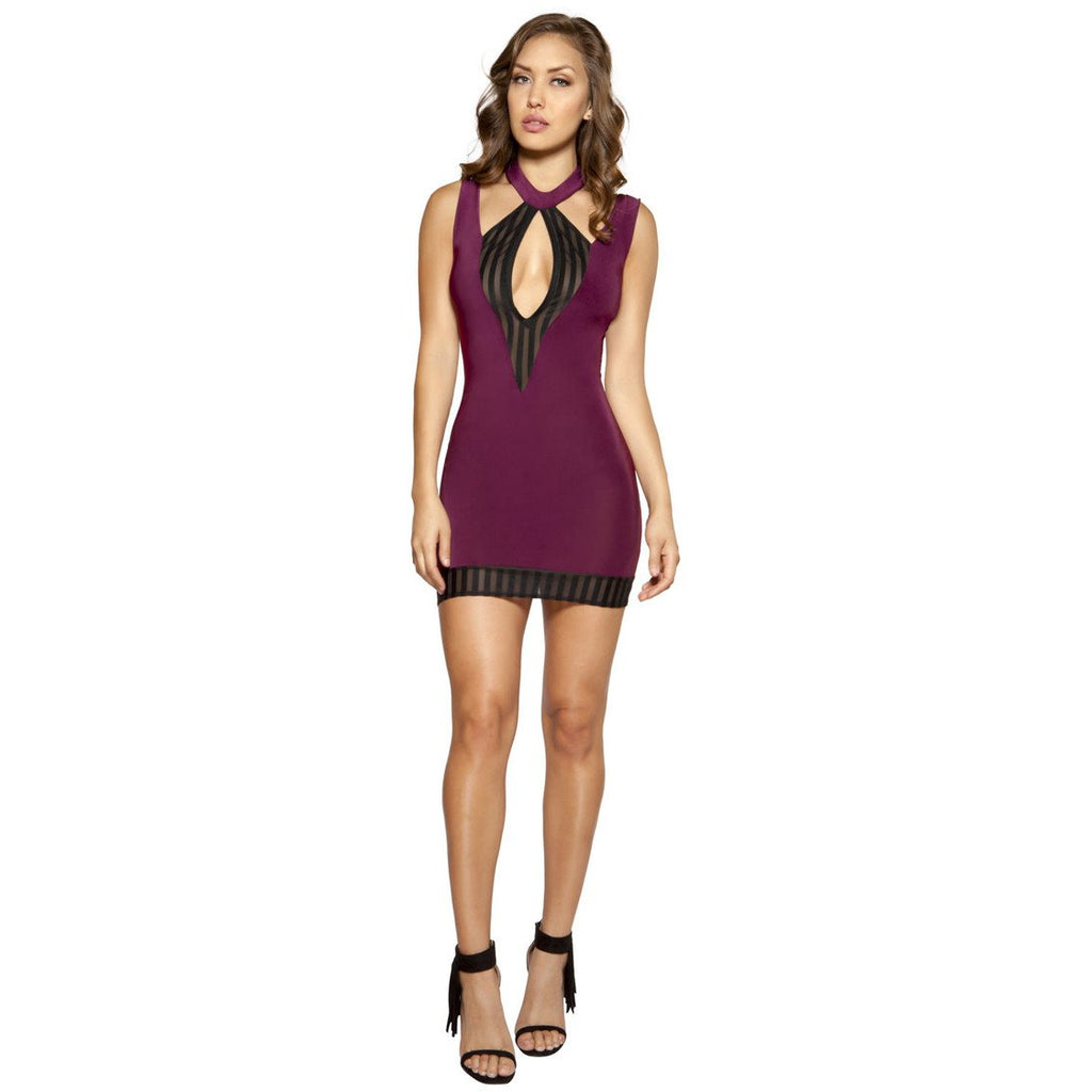 Cutout Plum Dress with Striped Mesh Detail – Charmed Costumes