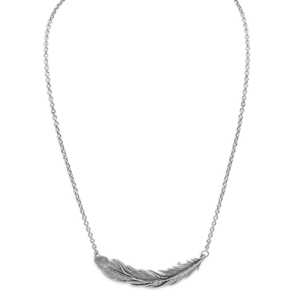 "16"" + 2"" Oxidized Feather Necklace"