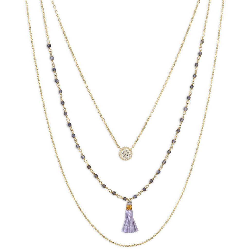 Triple Strand 14 Karat Gold Plated Necklace with Tassel and CZ