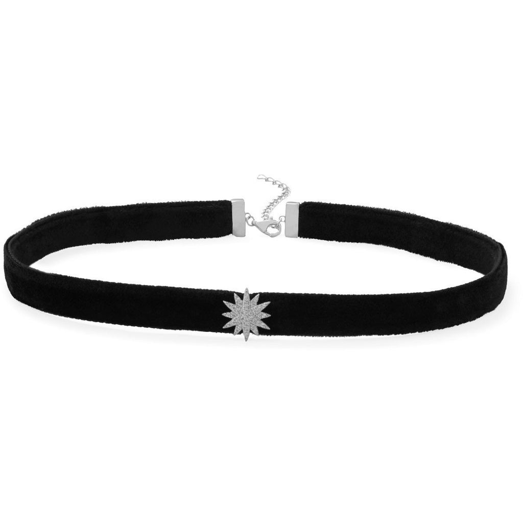 Rhodium Plated CZ Star Black Velvet Choker Necklace